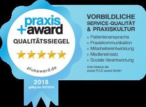 Ausgezeichnet mit dem Praxis+Award Qualitätssiegel 2018